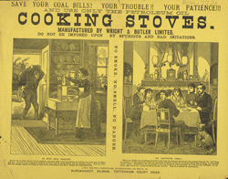 Advert for Wright & Butler cooking stoves